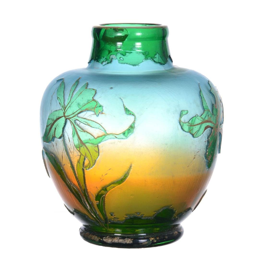 """6.75"""" X 5.5"""" Unmarked Cameo Art Glass Vase - 2"""