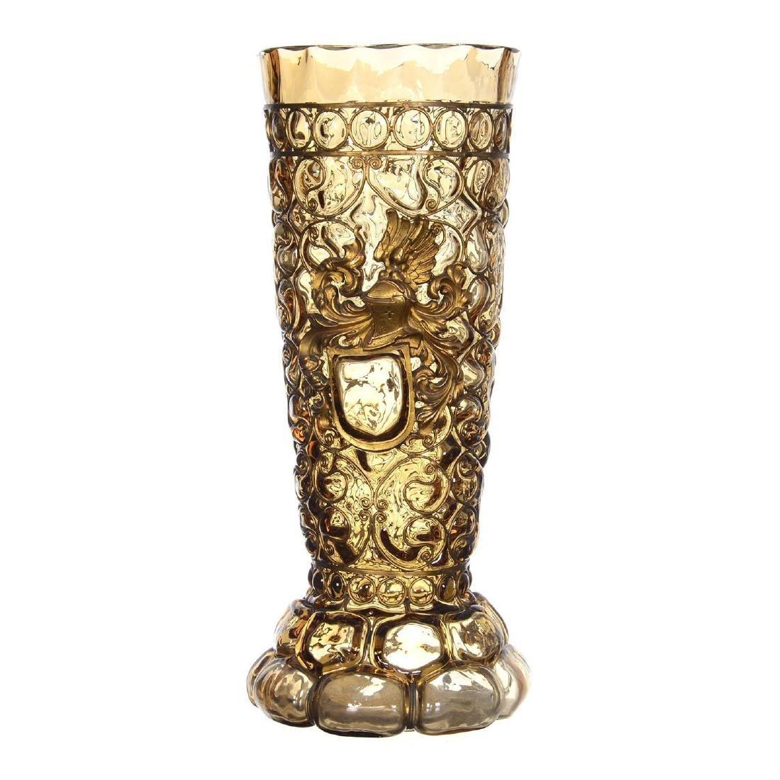 "12.25"" Art Glass Vase W/ Metal Overlay Highlights"