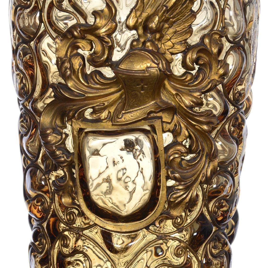 "12.25"" Art Glass Vase W/ Metal Overlay Highlights - 2"