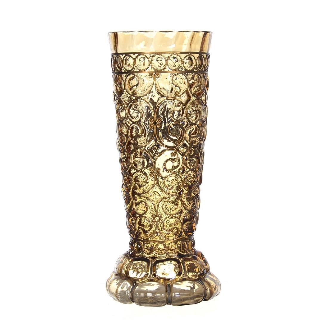 "12.25"" Art Glass Vase W/ Metal Overlay Highlights - 3"
