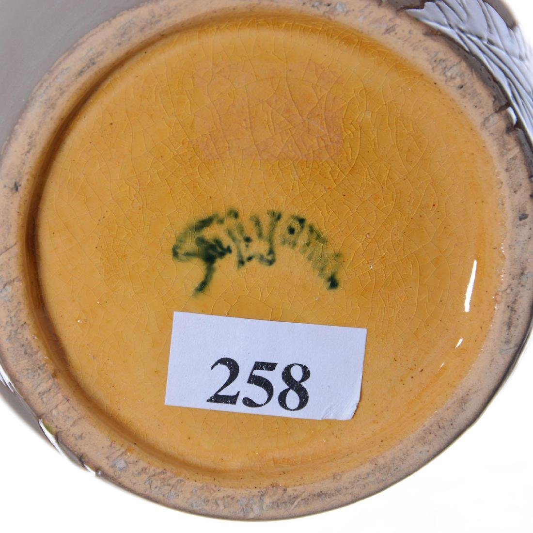 """Rare 11.5"""" Marked Fujiyama Roseville Art Pottery Vase - 4"""