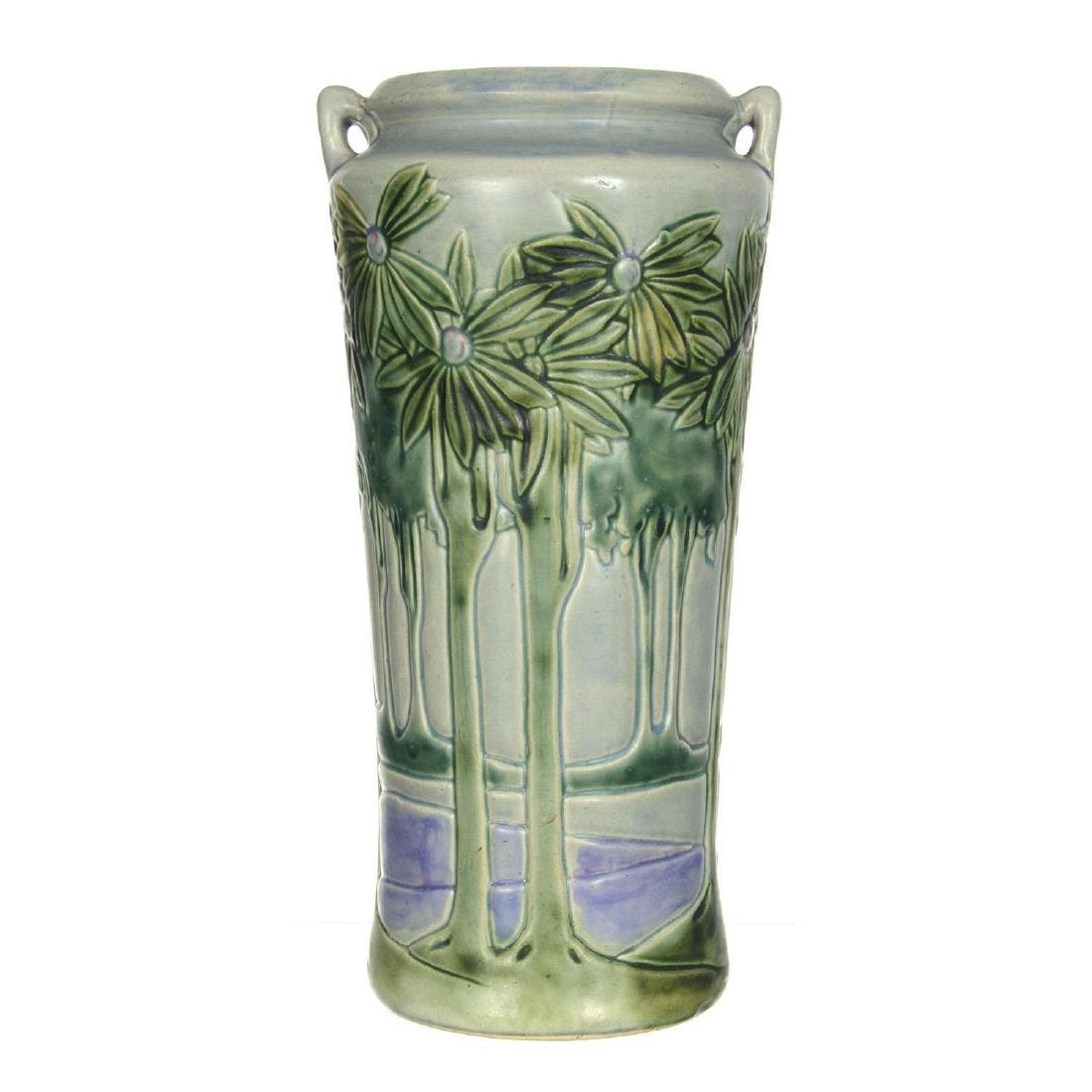 "14.75"" X 7.5"" Unmarked Roseville Art Pottery Vase"