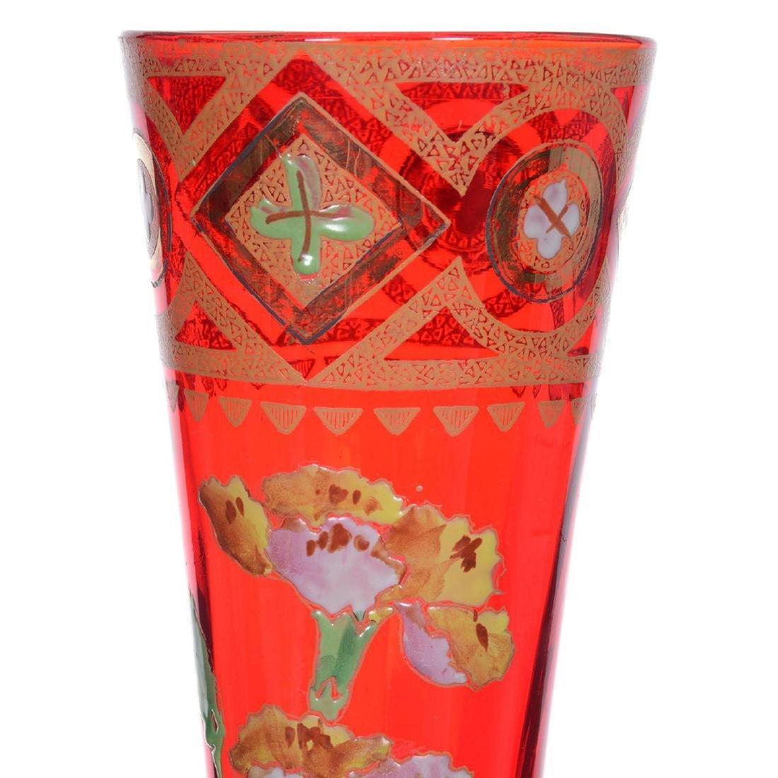 "12"" Unmarked Mont Joye Art Glass Vase - 2"