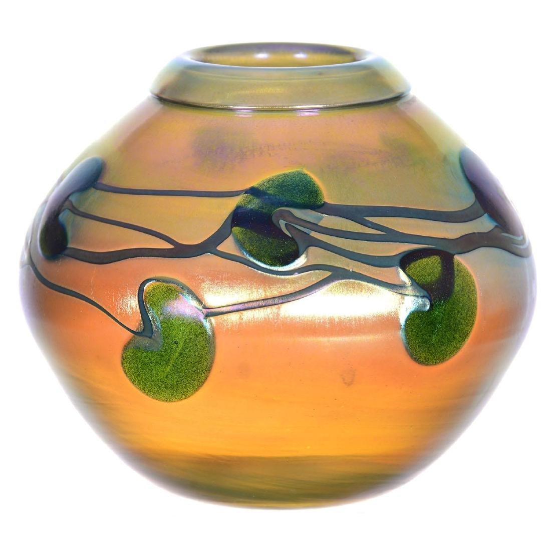 "4.25"" X 5"" Signed Charles Lotton Art Glass Vase"