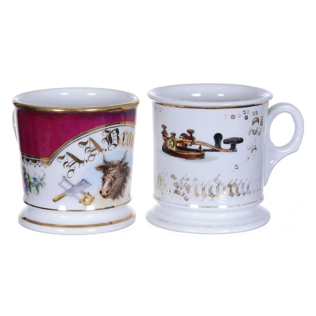 "(2) 3.75"" Occupational Shaving Mugs"