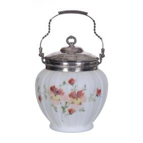 """8"""" Consolidated White Satin Art Glass Biscuit Jar"""