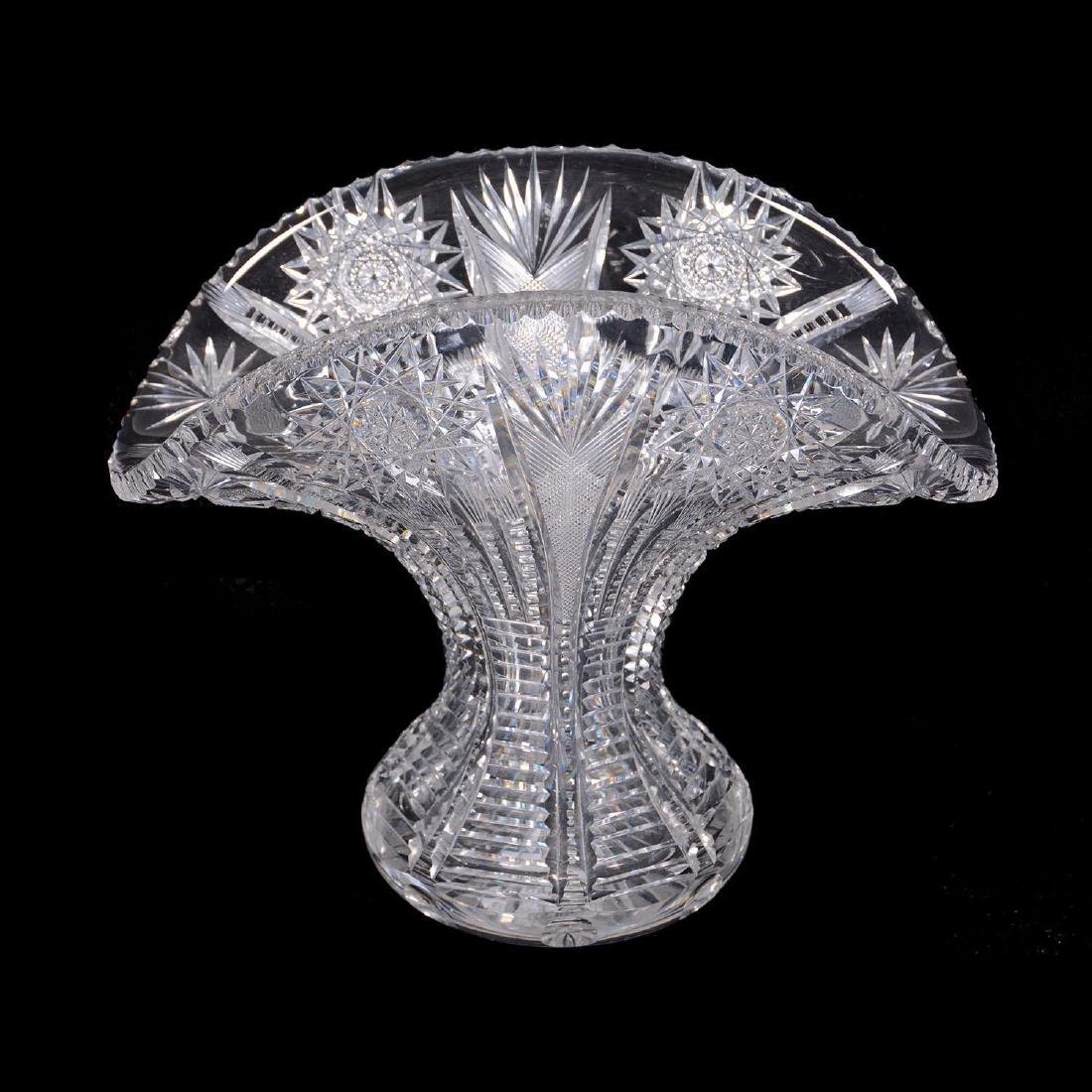 "8"" X 9.75"" American Brilliant Cut Glass Fan Shaped Vase"