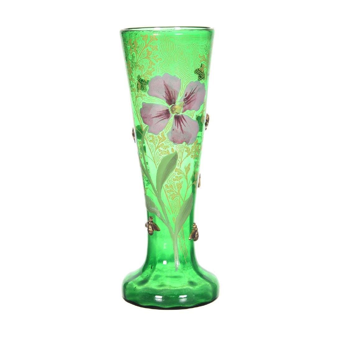 "9.25"" Unmarked Mont Joye Style Art Glass Vase"