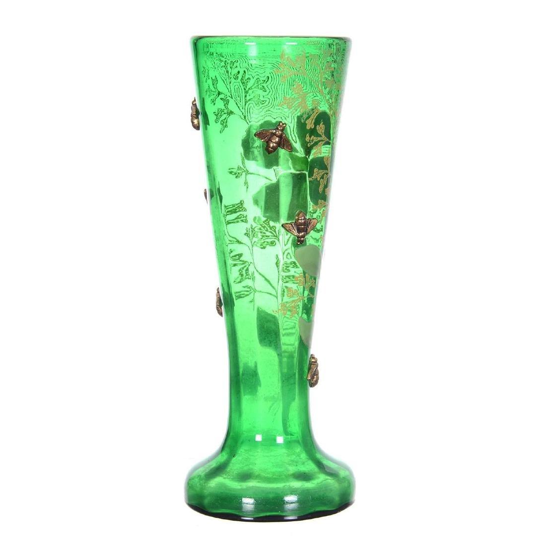 "9.25"" Unmarked Mont Joye Style Art Glass Vase - 2"