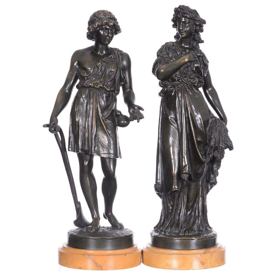 "Pair 16.5"" French Bronze Statues"