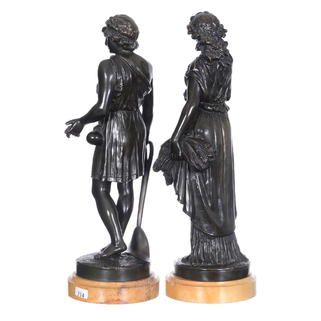 "Pair 16.5"" French Bronze Statues - 4"