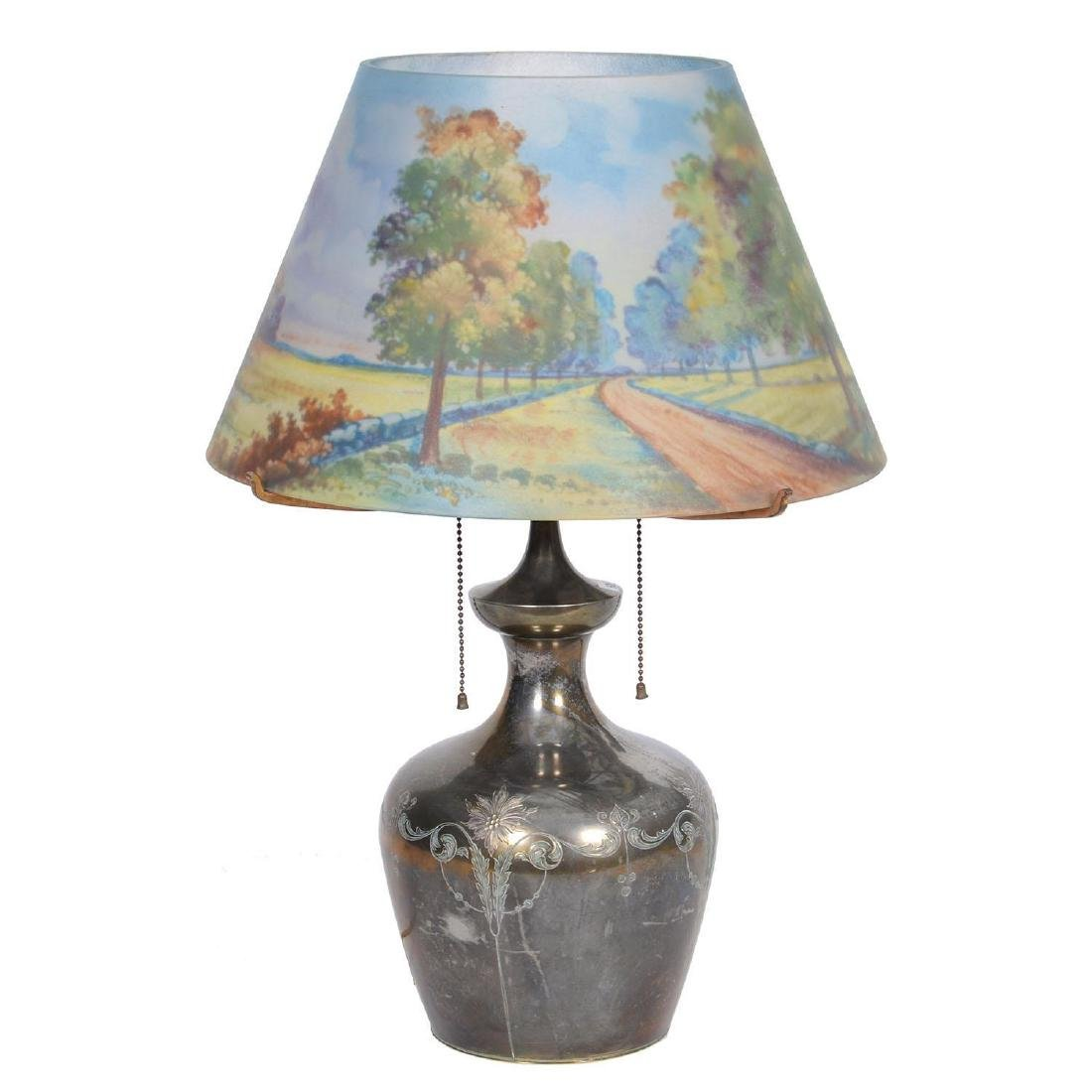 "22.5"" X 16"" Pairpoint Reverse Painted Lamp"