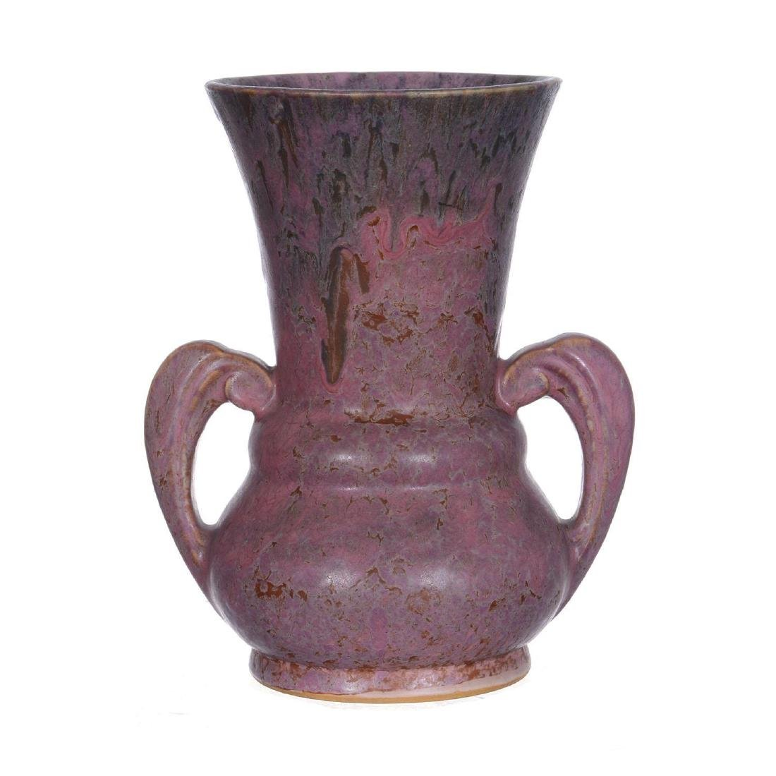 "8.25"" Unmarked Roseville Two-Handled Art Pottery Vase - 2"