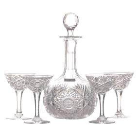 "Liquor Set - 9.75"" Decanter - ABCG - Monarch Pattern by"