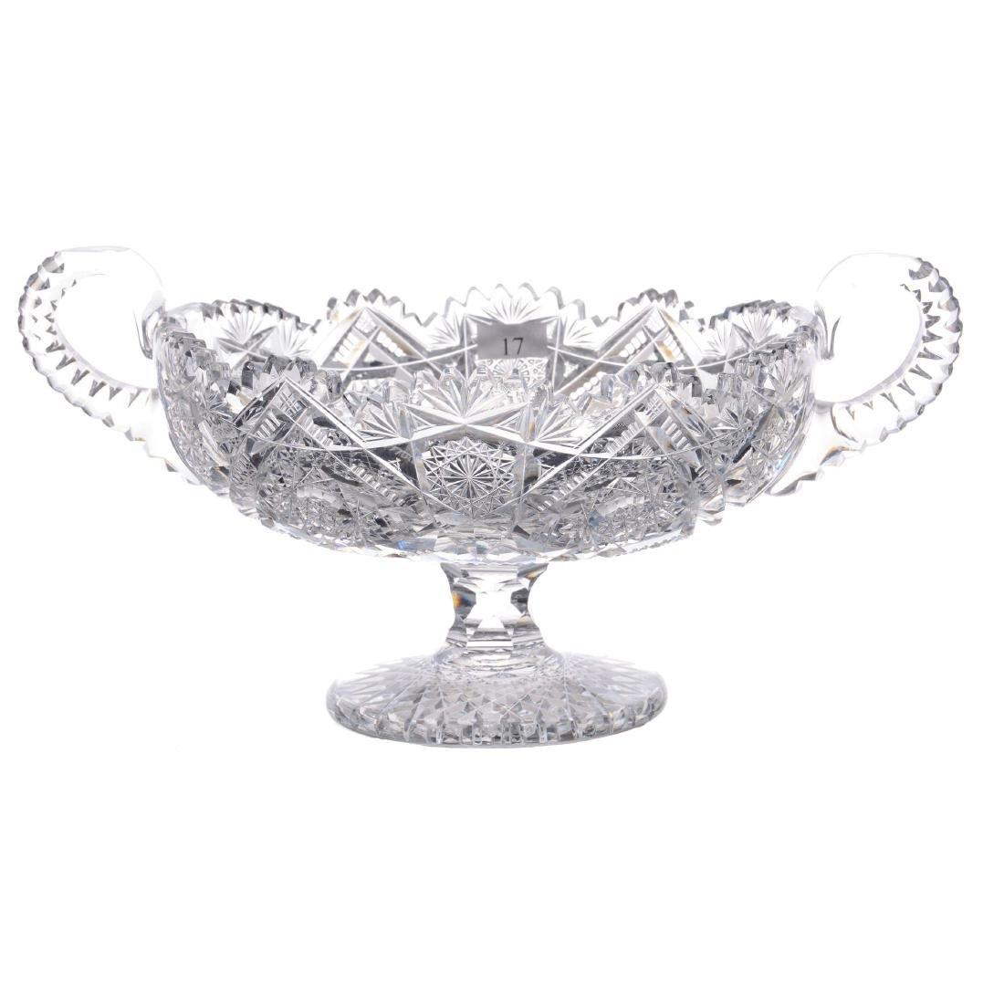 "Two-Handled Pedestal Fruit Bowl - 5.75"" X 12"" (Across H"