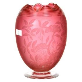 "7"" Cranberry Art Glass Footed Vase"