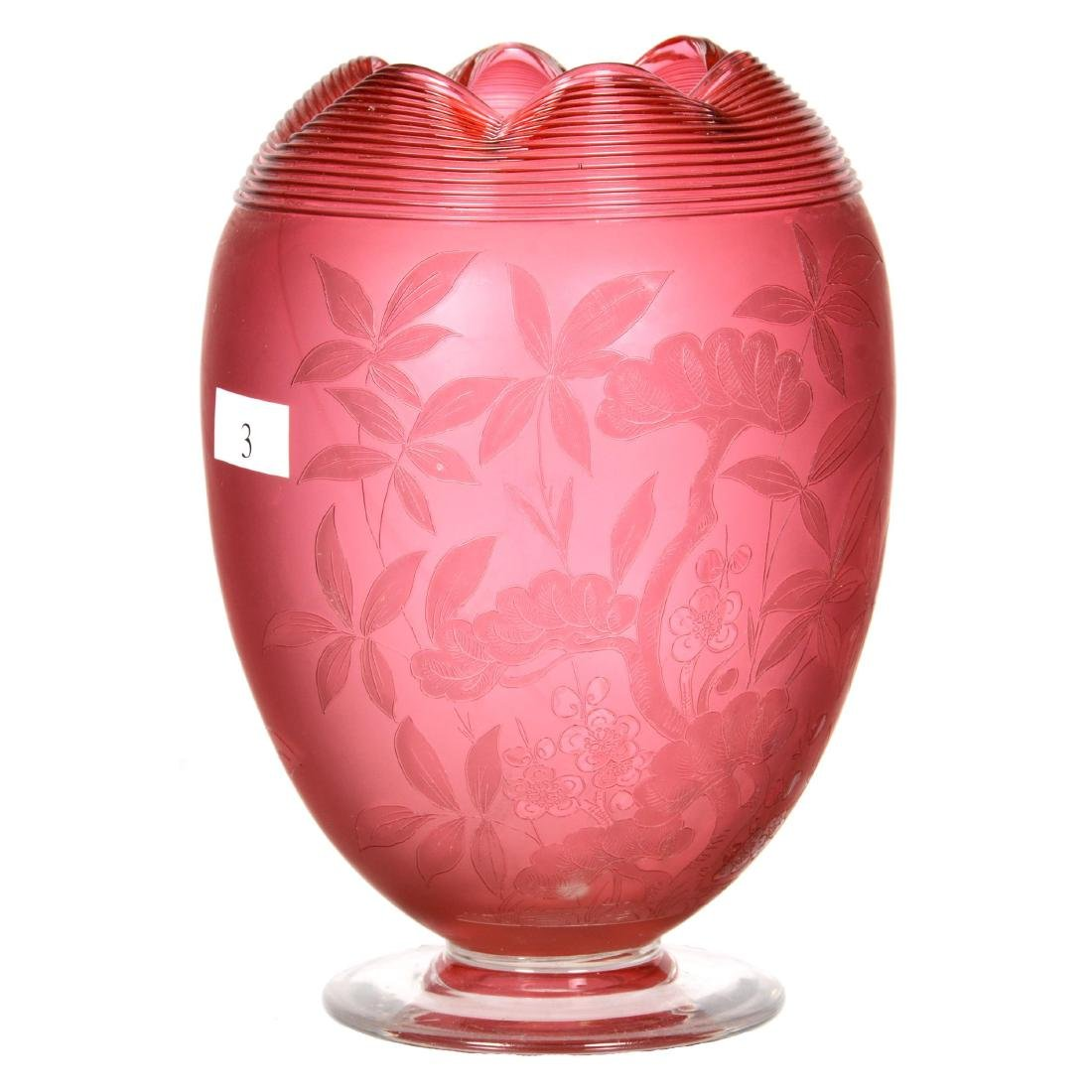 """7"""" Cranberry Art Glass Footed Vase"""