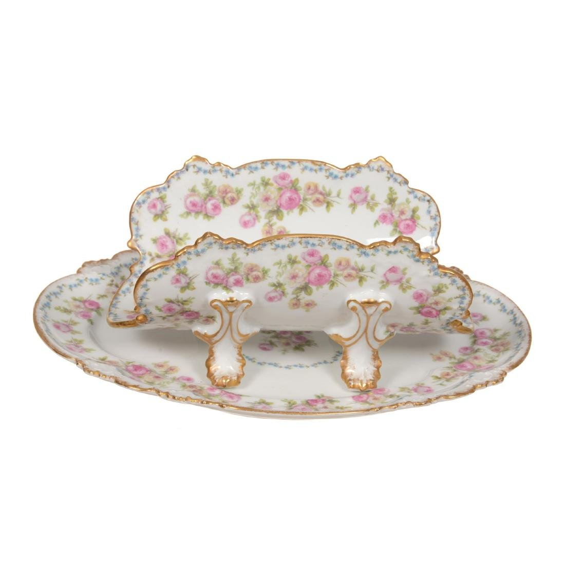 Limoges Two-Piece Pierced Asparagus Dish and Underplate