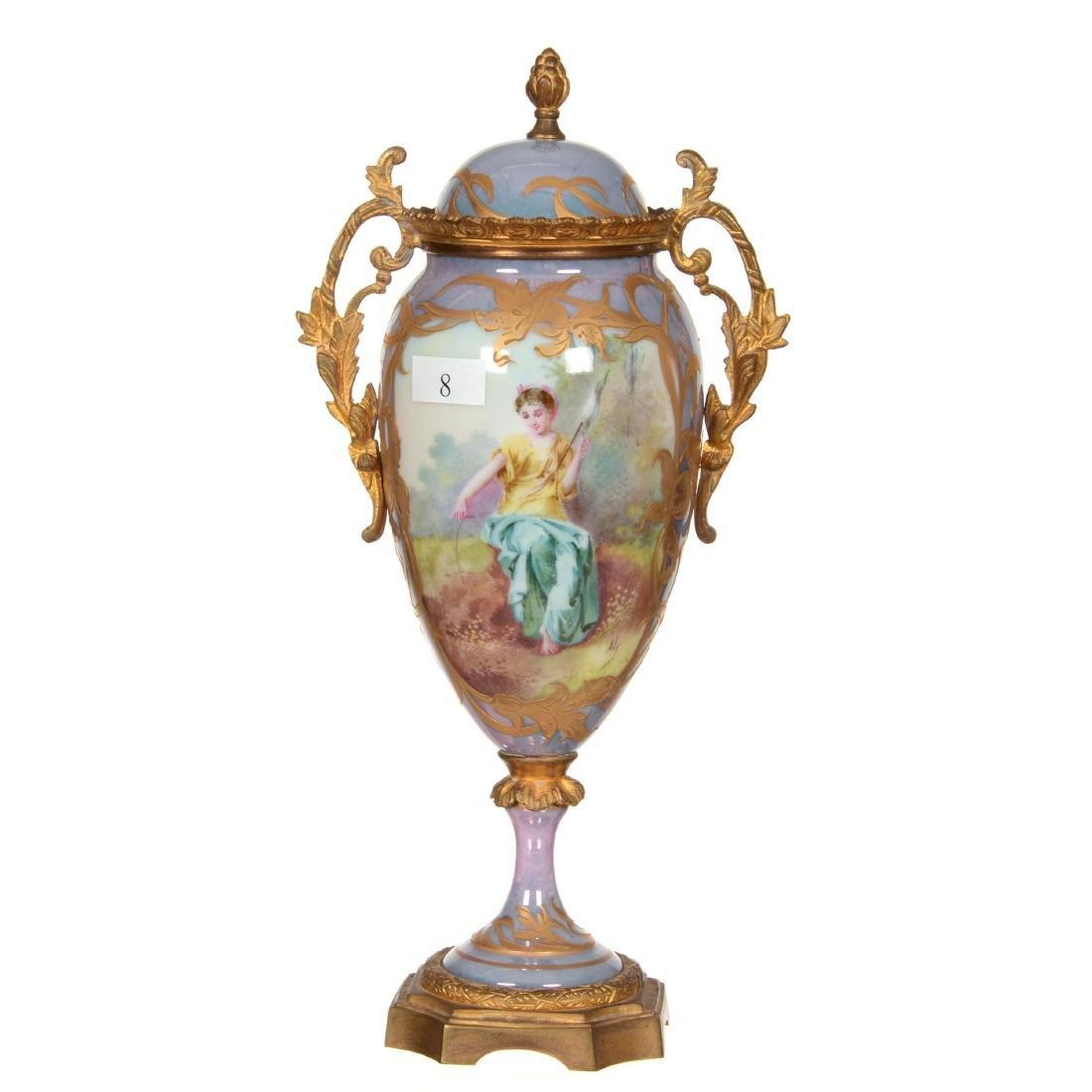 """11"""" Marked Sevres Pedestal Covered Urn"""