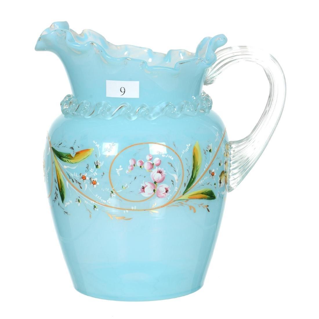 """8.25"""" Blue Opaque Art Glass Water Pitcher"""