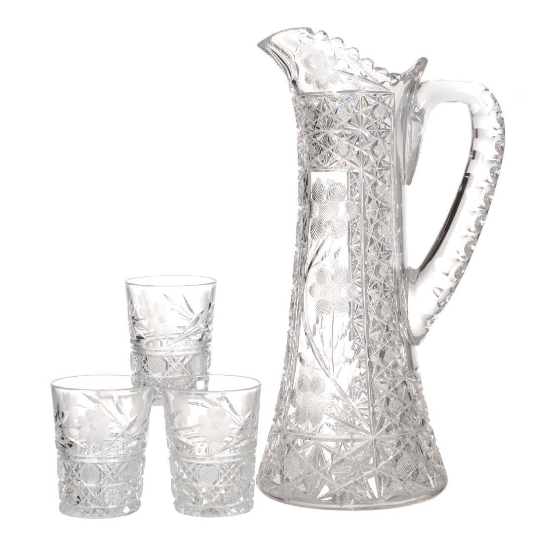 American Brilliant Cut Glass Tankard Set