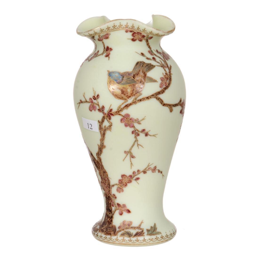 "10"" Opaque Pale Yellow Art Glass Vase"