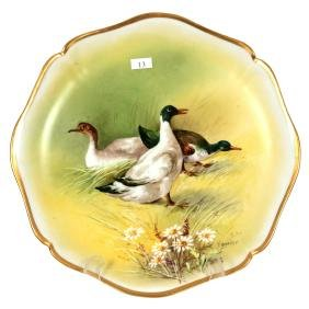 "13.25"" Limoges Round Hand Painted Plaque"