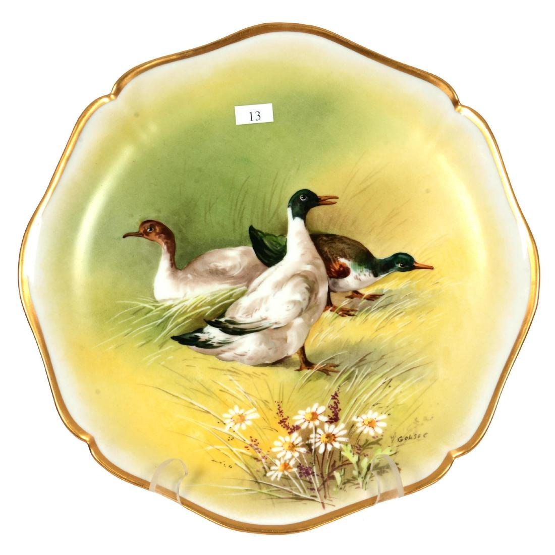 """13.25"""" Limoges Round Hand Painted Plaque"""