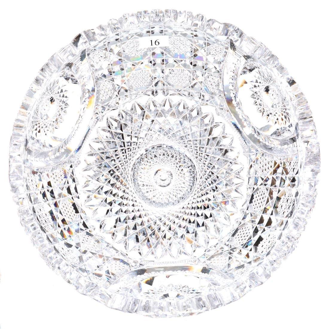 "American Brilliant Cut Glass Flat Bottom Bowl - 4"" X 10"