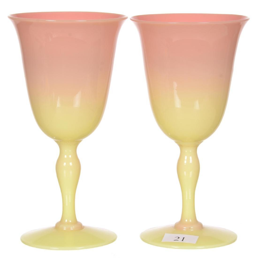 "Pair 6.5"" Mt. Washington Glossy Burmese Wedding Goblets"