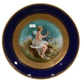 "13"" Unmarked Royal Bayreuth Round Plaque"