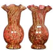 """Pair 10.75"""" Vasa Murrhina Vases"""