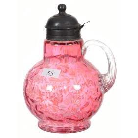 "7"" Cranberry Opalescent Art Glass Syrup Pitcher"
