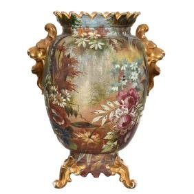 """12"""" Marked Royal Bonn Footed Tapestry Scenic Vase"""