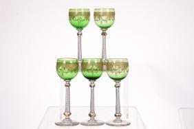 """(5) 7.5"""" Rhine Wine Glasses"""