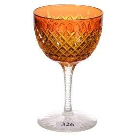 "4.75"" American Brilliant Cut Glass Wine Glass"