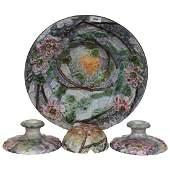 Four Piece Weller Art Pottery Console Set