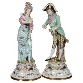 """Pair 18"""" Unmarked French Porcelain Figural Lamp Bases"""