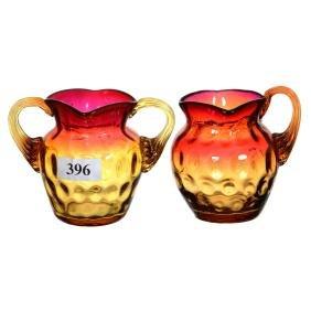"""2.75"""" Amberina Coinspot Art Glass Miniature Creamer & S"""