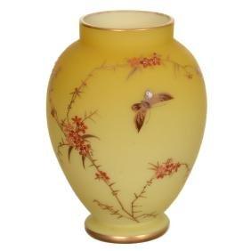 "5.75"" Unmarked Webb Yellow Satin Art Glass Vase"