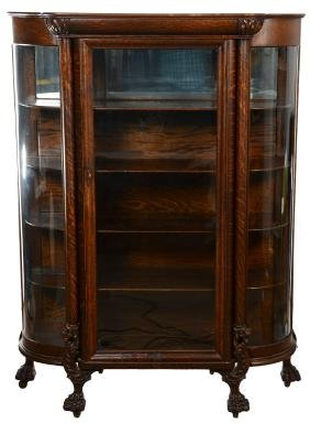 "67"" X 52"" Solid Oak China Cabinet"