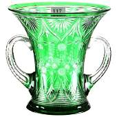"""Two-Handled Loving Cup - 6.5"""" X 6.5""""Green Cut to Clear"""