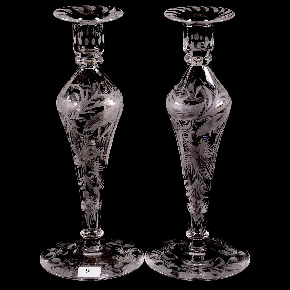 Pair ABCG Candlestick Holders - Signed Libby Pattern #0