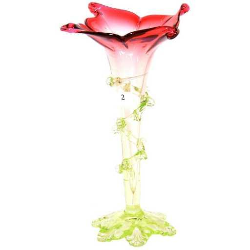 95 Cranberry Shading To Vaseline Art Glass Vase
