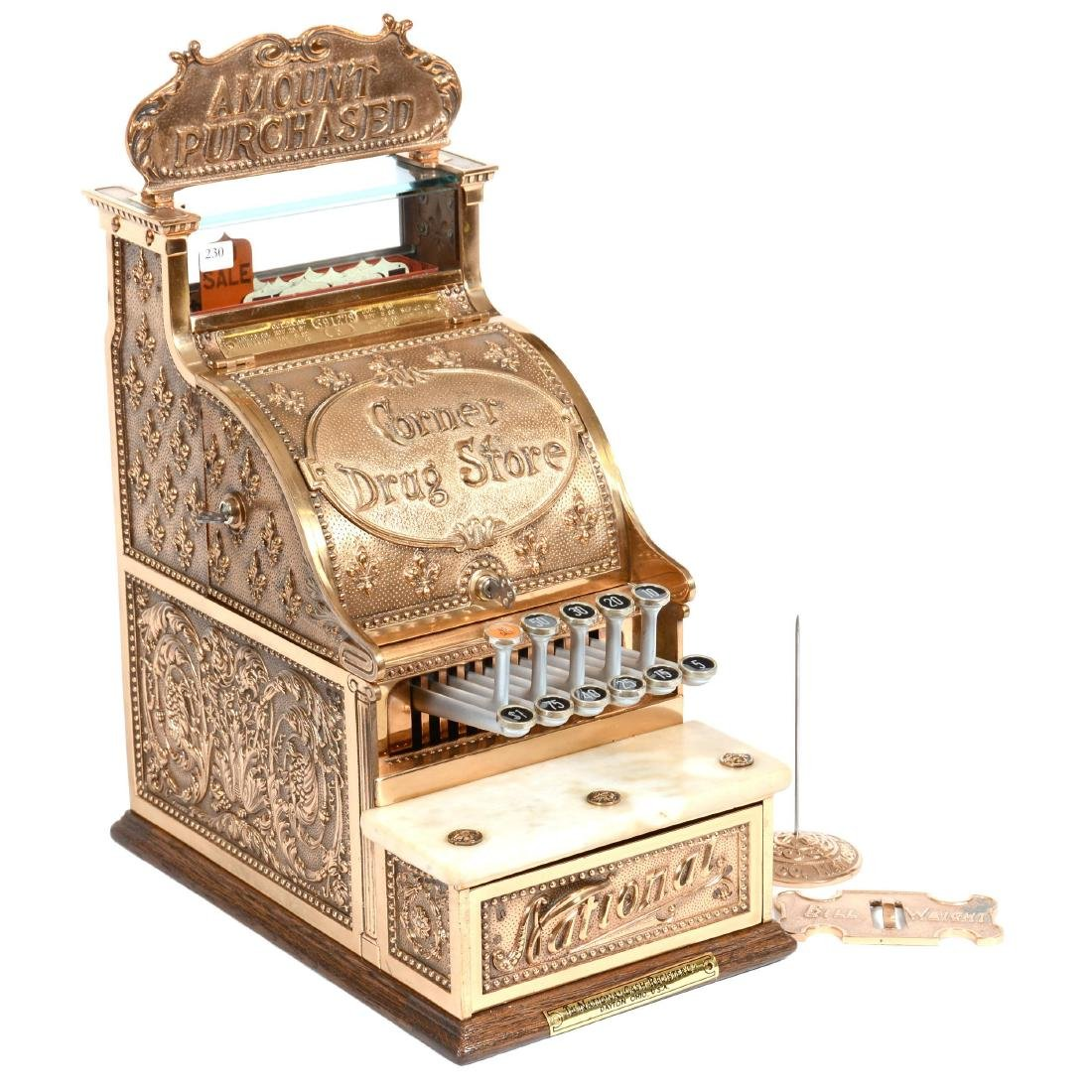 "16.5"" X 16"" X 9.5"" Brass National Cash Register Model #"
