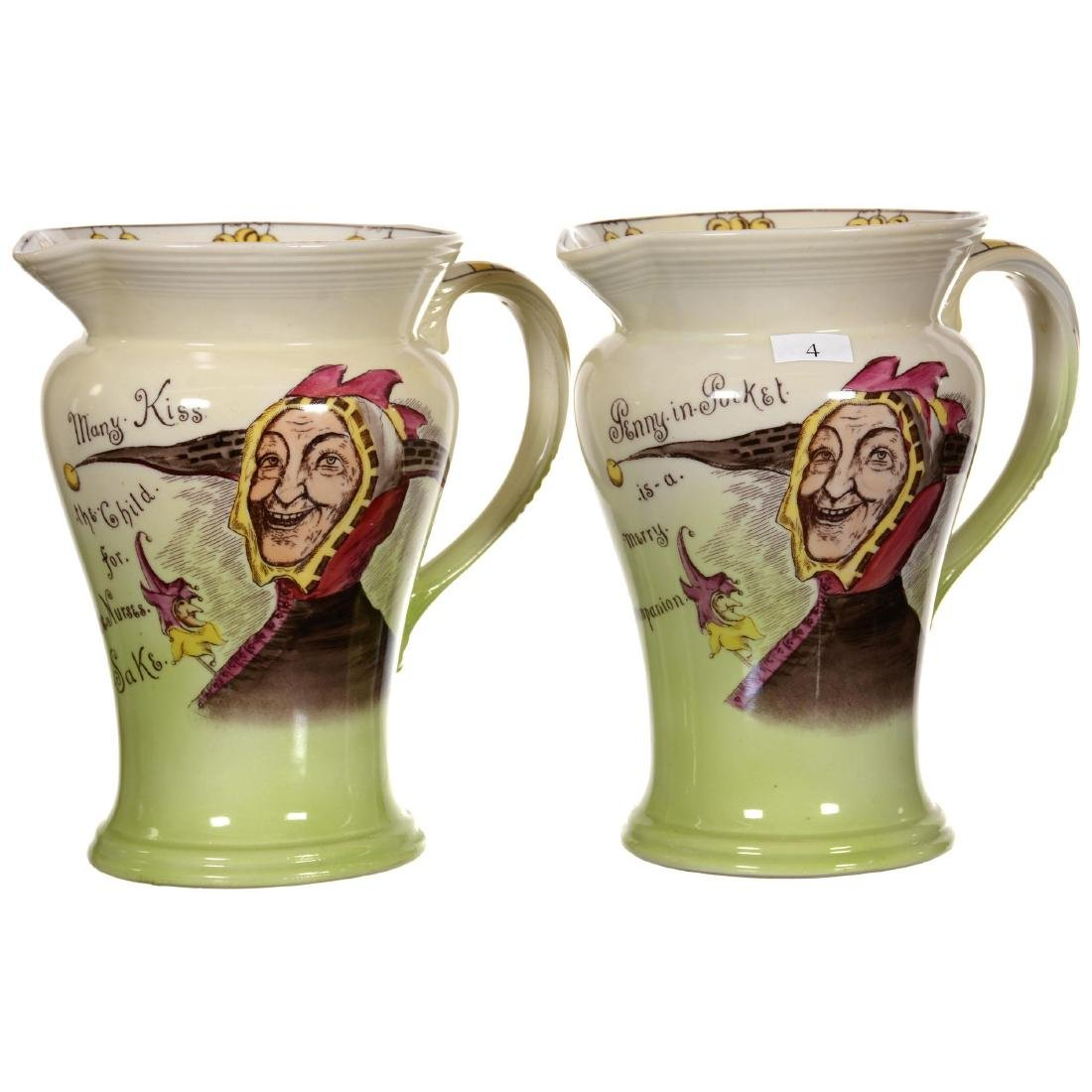 Two Rare Unmarked Royal Bayreuth Jester Scene Pitchers