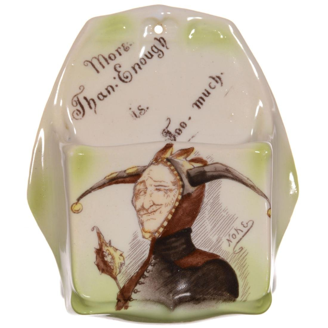Unmarked Royal Bayreuth Jester Scene Wall Match Holder