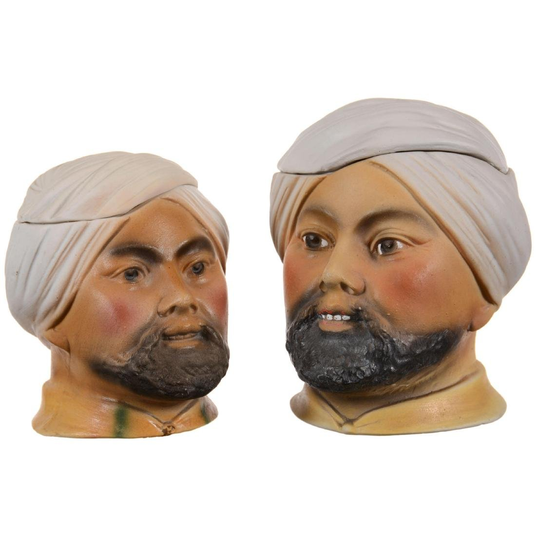 Two Unmarked German Bisque Figural Humidors