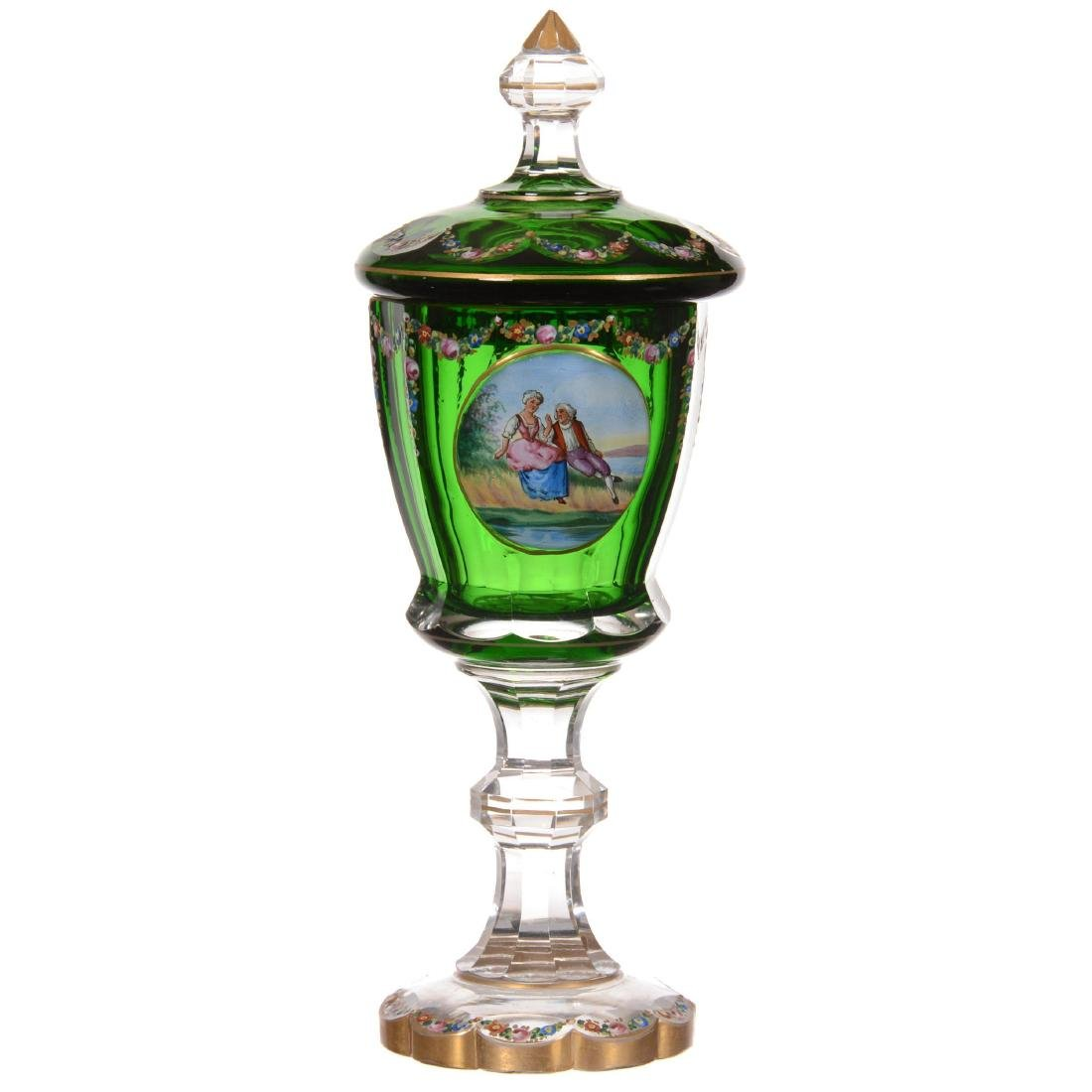Cased Bohemian Art Glass Covered Chalice