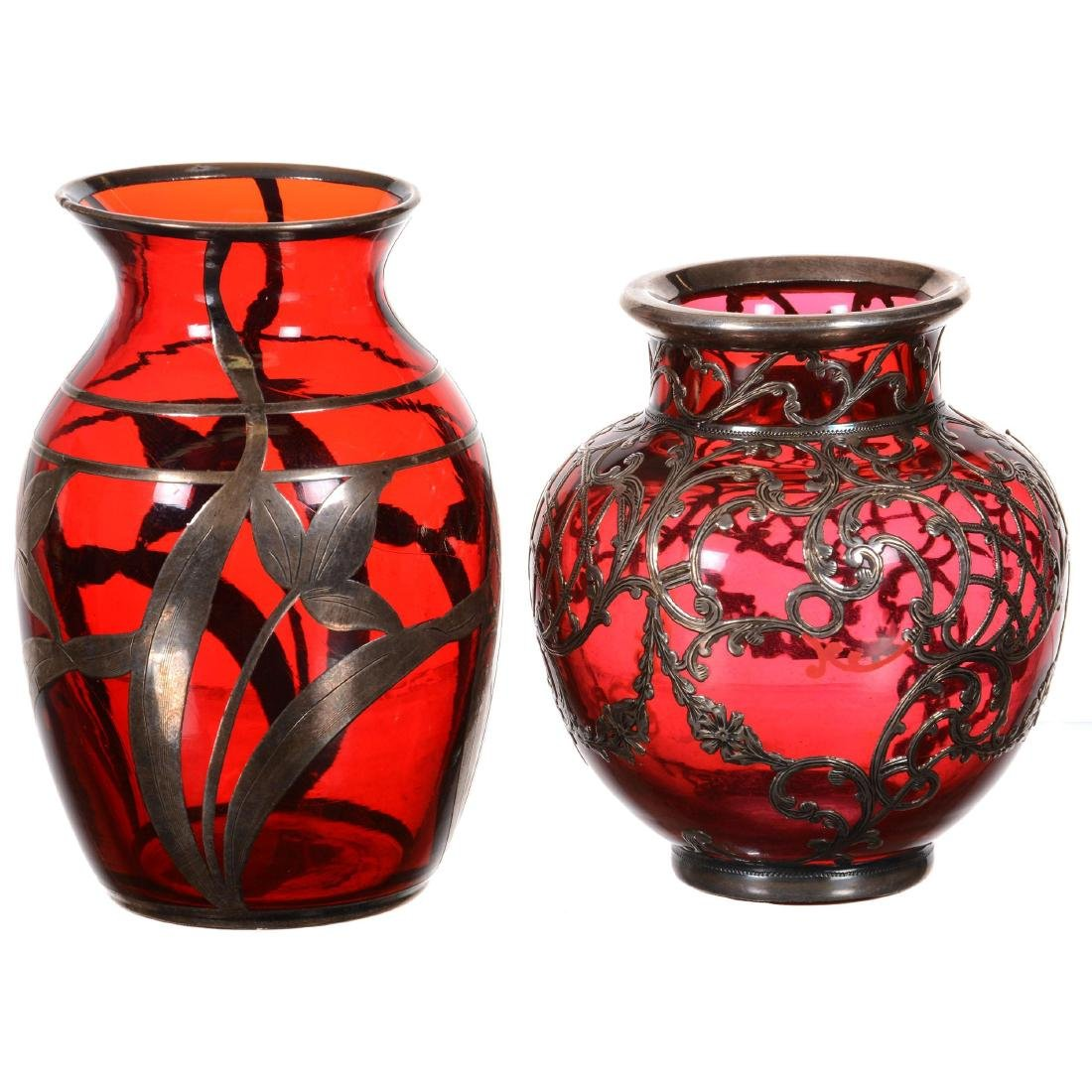 (2) Cranberry Art Glass Vases with Sterling Silver Over
